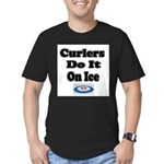 Curlers Do It On Ice Men's Fitted T-Shirt (dark)
