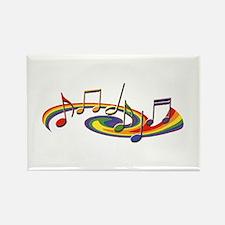 Rainbow Music Rectangle Magnet