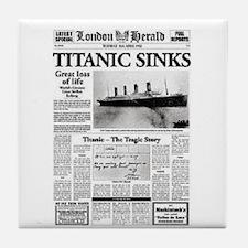 "London Herald ""Titanic SInks Tile Coaster"