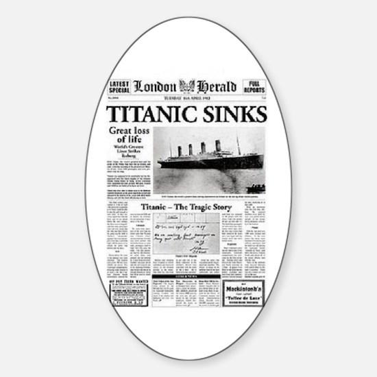 "London Herald ""Titanic SInks Oval Decal"