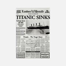 "London Herald ""Titanic SInks Rectangle Magnet"