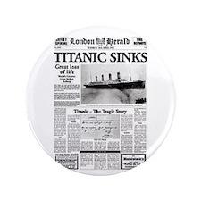 "London Herald ""Titanic SInks 3.5"" Button (100 pack"
