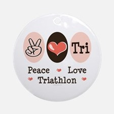 Peace Love Tri Ornament (Round)