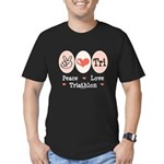Peace Love Tri Men's Fitted T-Shirt (dark)