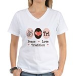 Peace Love Tri Women's V-Neck T-Shirt