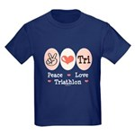 Peace Love Tri Kids Dark T-Shirt