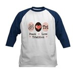 Peace Love Tri Kids Baseball Jersey
