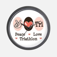 Peace Love Tri Wall Clock