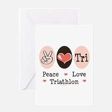 Peace Love Tri Greeting Card