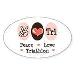 Peace Love Tri Oval Sticker