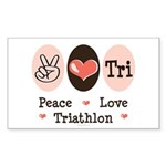 Peace Love Tri Rectangle Sticker