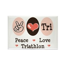 Peace Love Tri Rectangle Magnet