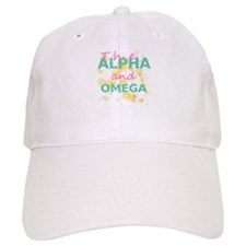 Alpha and Omega Pink & Teal on White Baseball Cap