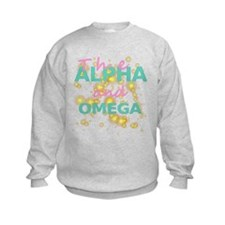 Kids Alpha and Omega Pink and Teal Sweatshirt