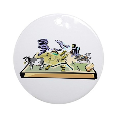 Kansas Map Ornament (Round)