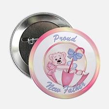 Pink Bear Umbrella-Father-Baby Button