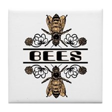 Bees With Clover Tile Coaster