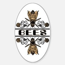 Bees With Clover Oval Decal