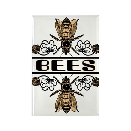 Bees With Clover Rectangle Magnet (100 pack)