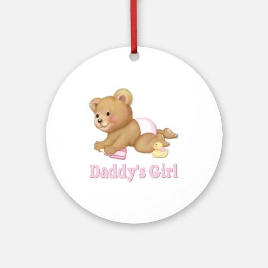 Diaper Teddy - Daddy's Girl Ornament (Round)
