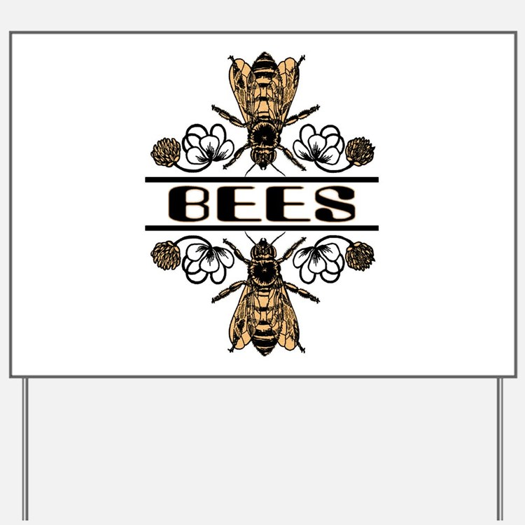 Bees With Clover Yard Sign