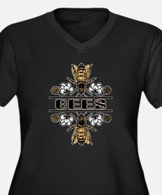 Bees With Clover Women's Plus Size V-Neck Dark T-S