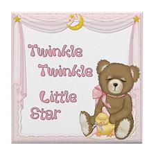 Twinkle Bear - Baby Girl Tile Coaster