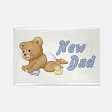Diaper Teddy Boy - New Dad Rectangle Magnet