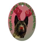Maggie the Akita as Rudolph Oval Ornament