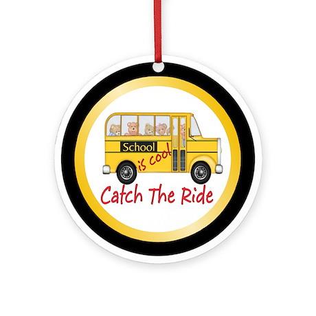 School is Cool Schoolbus Ornament (Round)