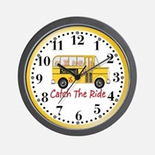 School is Cool Schoolbus Wall Clock
