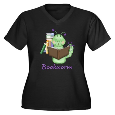 Bookworm Women's Plus Size V-Neck Dark T-Shirt