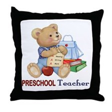 School Days Teddy - Preschool Throw Pillow