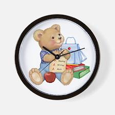 School Days Teddy Bear Wall Clock