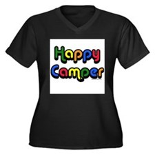 Unique Happy camper Women's Plus Size V-Neck Dark T-Shirt
