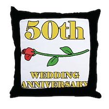 50th Rose Throw Pillow