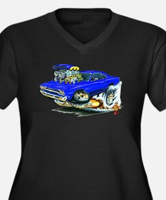 Plymouth GTX Blue Car Women's Plus Size V-Neck Dar