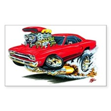 Plymouth GTX Red Car Rectangle Decal