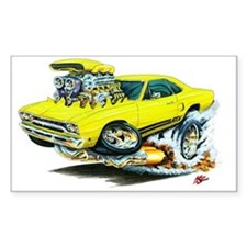 Plymouth GTX Yellow Car Rectangle Decal