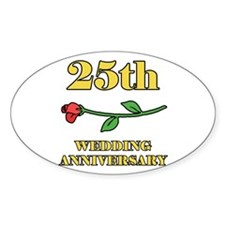 25th Rose Oval Decal