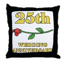 25th Rose Throw Pillow
