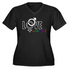 Love is Colorblind Women's Plus Size V-Neck Dark T