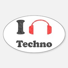 I <3 Techno Oval Decal