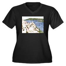 Santorini, Greek Island I Women's Plus Size V-Neck
