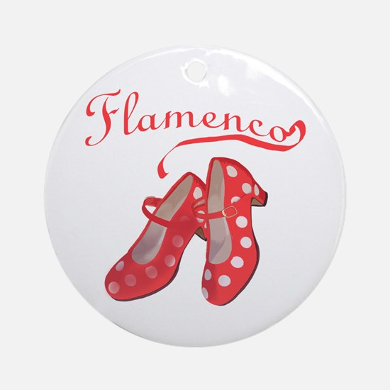Red Flamenco Shoes Ornament (Round)