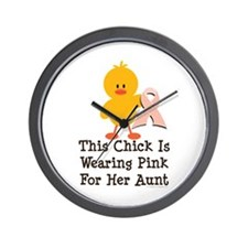 Pink Ribbon Chick For Aunt Wall Clock
