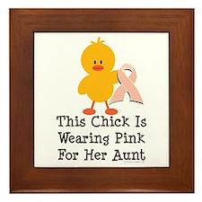 Pink Ribbon Chick For Aunt Framed Tile