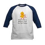 Pink Ribbon Chick For Sister Kids Baseball Jersey