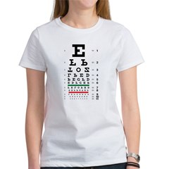 Upside-down eye chart women's T-shirt