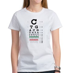 DNA bases eye chart women's T-shirt